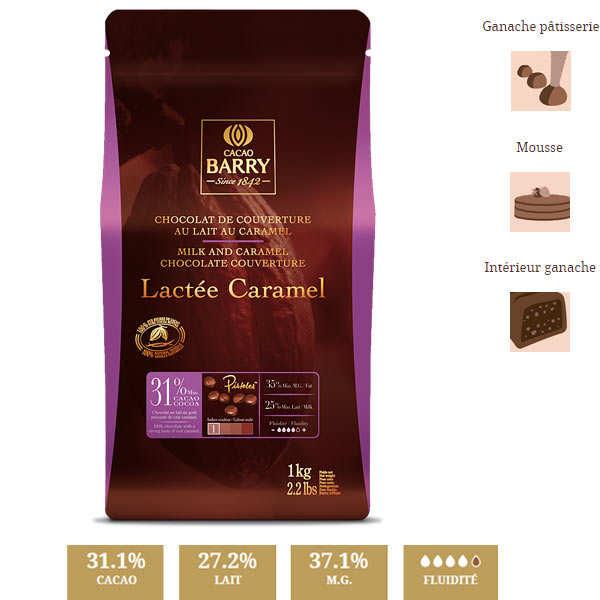 Chocolat de couverture lait aromatisé caramel - 31.1% - pistoles