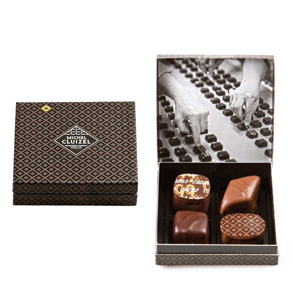 Box of 4 Dark & Milk Chocolates by Michel Cluizel