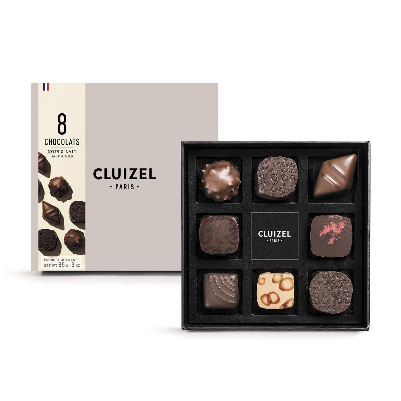 Box of 8 Dark & Milk Chocolates by Michel Cluizel