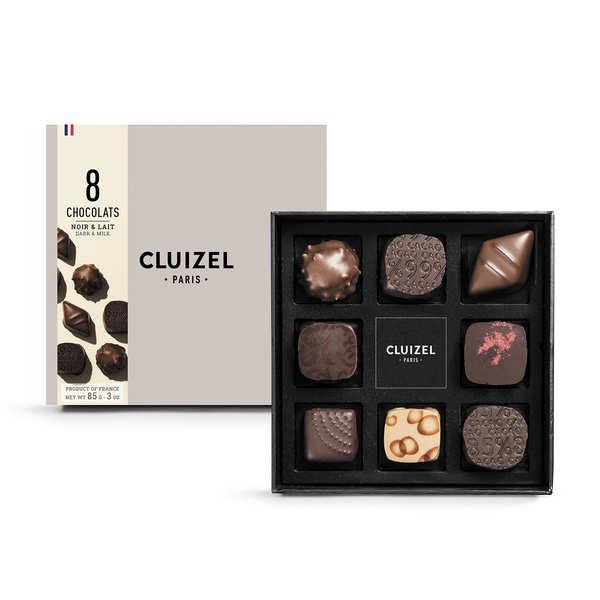 Coffret 8 chocolats noirs et laits Michel Cluizel