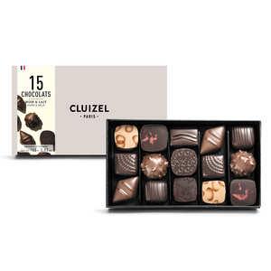 Michel Cluizel - Coffret 15 chocolats noirs et laits Michel Cluizel