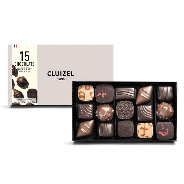Coffret 15 chocolats noirs et laits Michel Cluizel