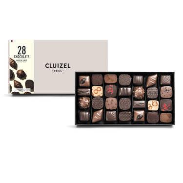 Coffret 28 chocolats noirs et laits Michel Cluizel