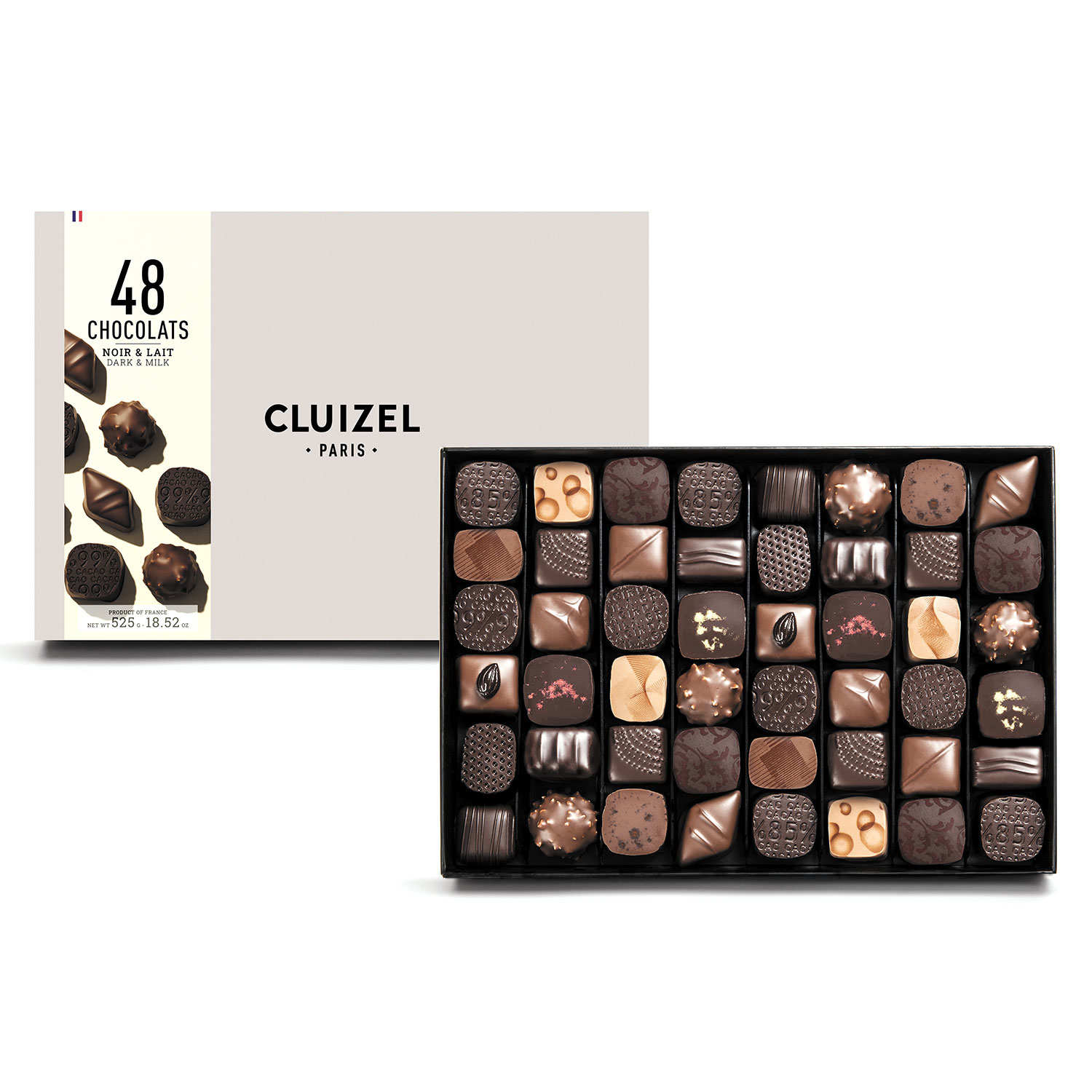 Box of 48 dark and milk chocolates by Michel Cluizel