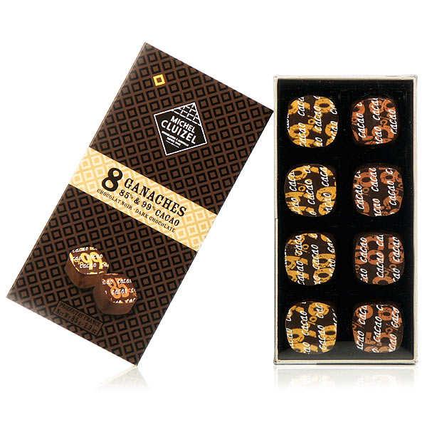 Coffret 8 ganaches fortes teneurs en cacao (85% et 99%) Michel Cluizel