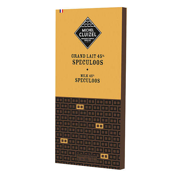 Milk chocolate 'Grand Lait' bar with Spéculoos by Michel Cluizel