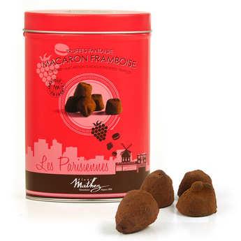 Chocolat Mathez - Les parisiennes - truffes fantaisies aux brisures de macaron framboise
