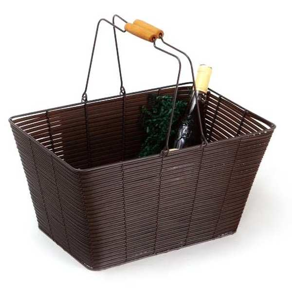 Large woven brown basket in metal and synthetic wicker