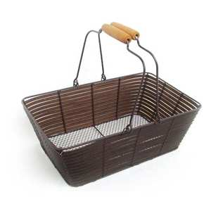 - Woven brown basket in metal and synthetic wicker