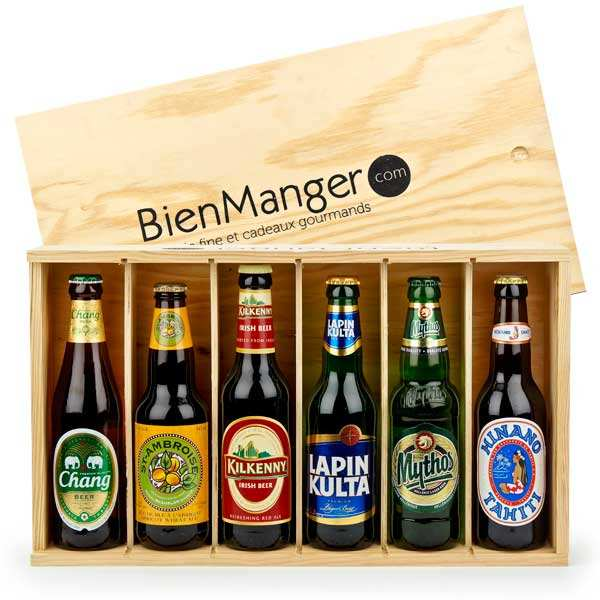 Wooden box for 6 bottles of beer