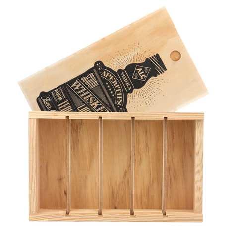 Les Ateliers de la Colagne - Caisse bois à glissière - 5 mignonnettes