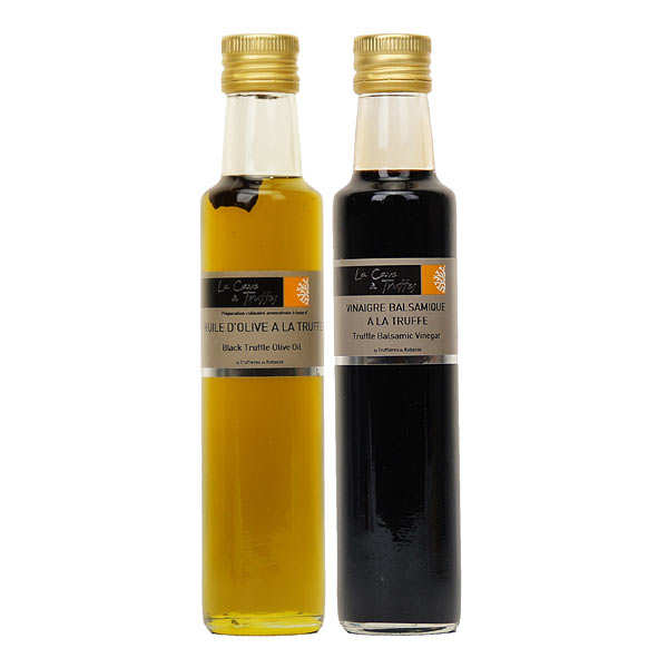 Duo : olive oil and balsamic vinegar from Modena with black truffle