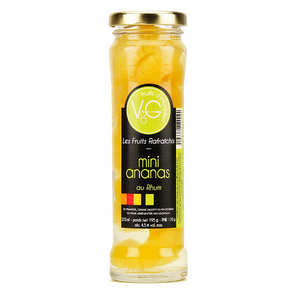 Vergers de Gascogne - Mini Queen Victoria Pineapples, coconuts in Rum Syrup - 210ml