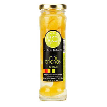 Vergers de Gascogne - Mini Queen Victoria Pineapples, coconuts in Rum Syrup - 210ml