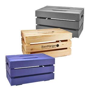 Les Ateliers de la Colagne - Large wooden crate with lid with