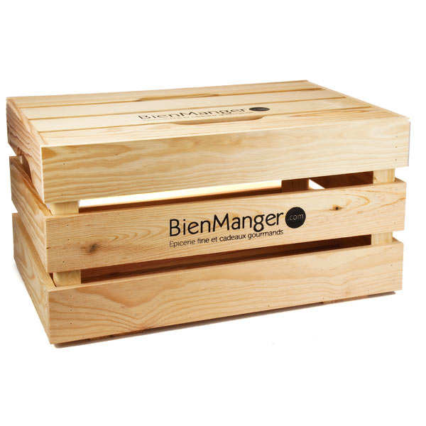 Large wooden crate with lid with
