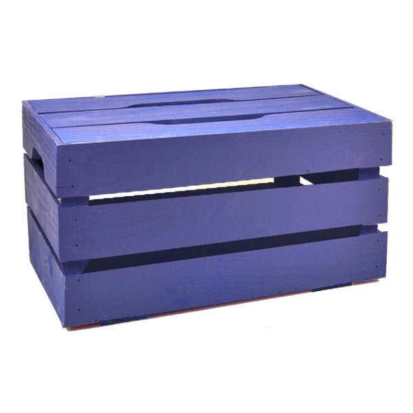 Grand coffre bois avec couvercle - 60x40x30cm