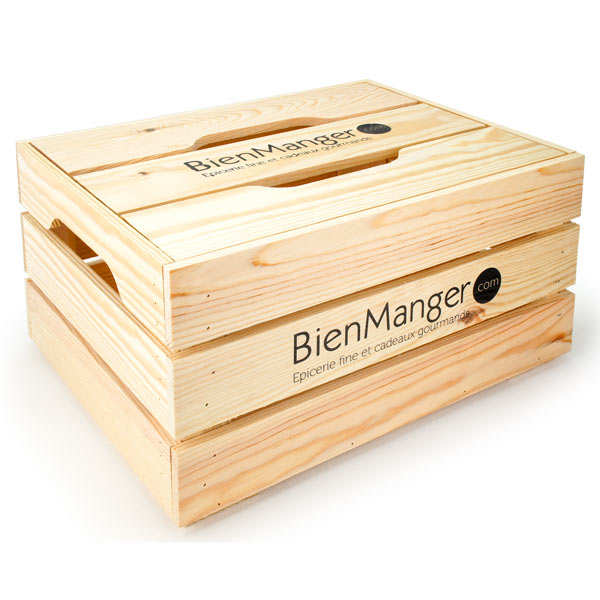 Wooden crate with lid - 44x34x22cm