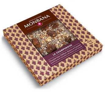 Monbana Chocolatier - Tablette chocolat noir pétillant raisin et caramel - La champenoise