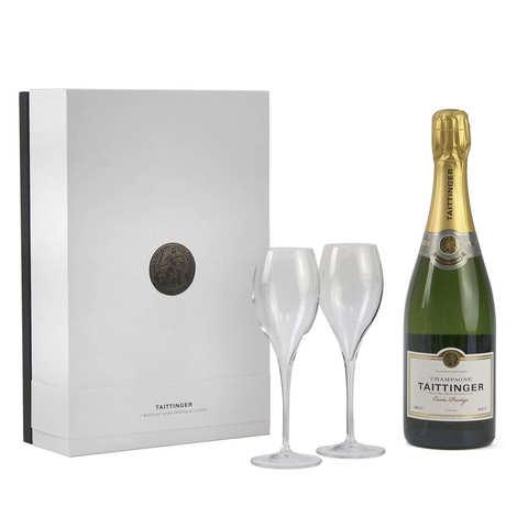 Champagne Taittinger - Coffret cadeau champagne Taittinger Brut Prestige 2 flutes
