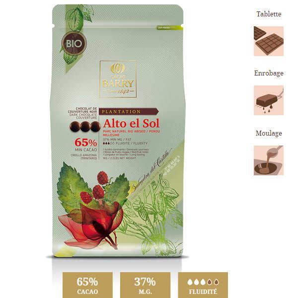 Chocolat de couverture bio Alto el Sol - 65% - en pistoles