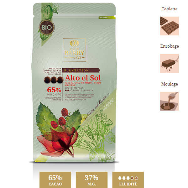 Organic Dark Chocolate Couverture Alto el sol 65%