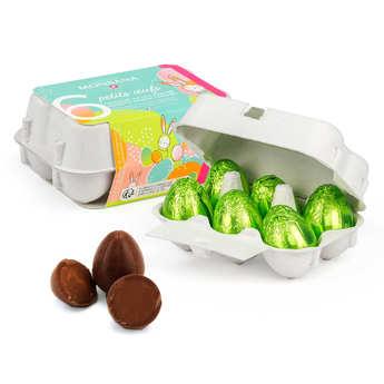 Monbana Chocolatier - La boite à oeufs - 6 mini oeufs praliné lait et noir