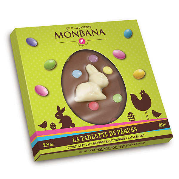 tablette de p ques chocolat au lait et bonbons monbana chocolatier. Black Bedroom Furniture Sets. Home Design Ideas