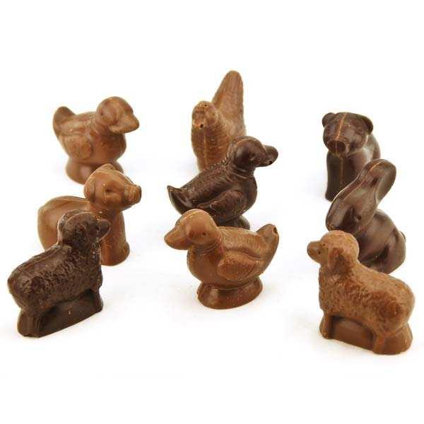 Sachet d'animaux de la ferme en chocolat fourrés praliné