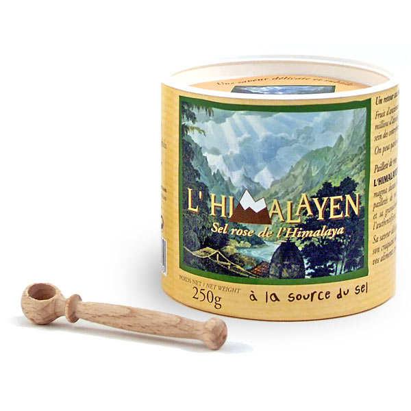 Sel rose fin de l'Himalaya (boite ronde et cuillère bois)