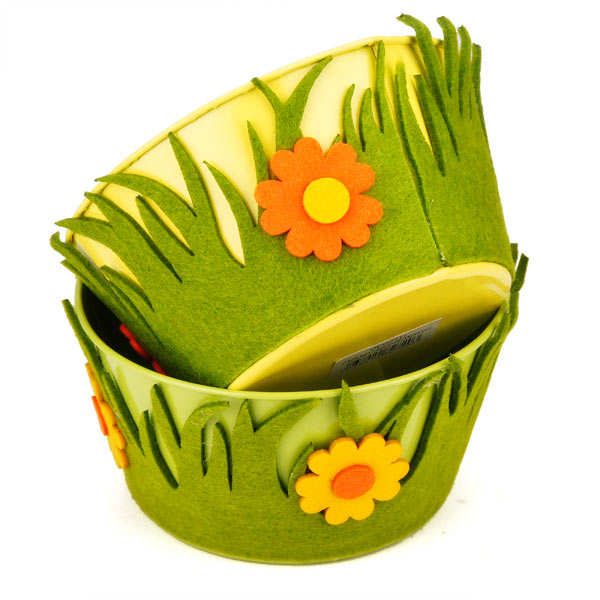 Little metal basket decorated with felt flowers