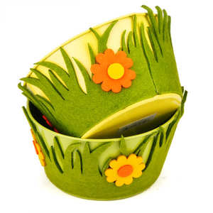 - Little metal basket decorated with felt flowers