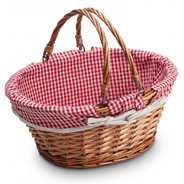 Wicker basket with red and white gingham lining