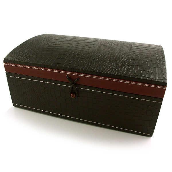 grand coffret bois fa on cuir noir bordeaux. Black Bedroom Furniture Sets. Home Design Ideas