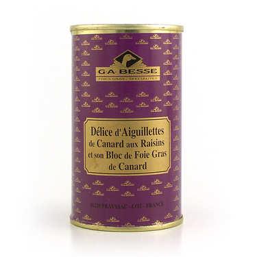 Délice d'aiguillettes de canard raisins et bloc de foie gras de canard
