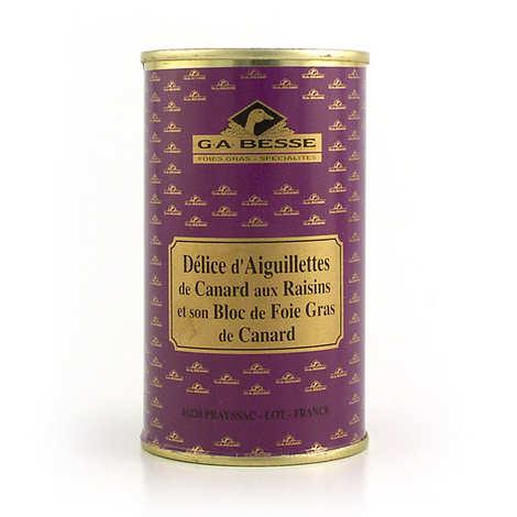 Foie gras GA BESSE - Délice d'aiguillettes de canard raisins et bloc de foie gras de canard