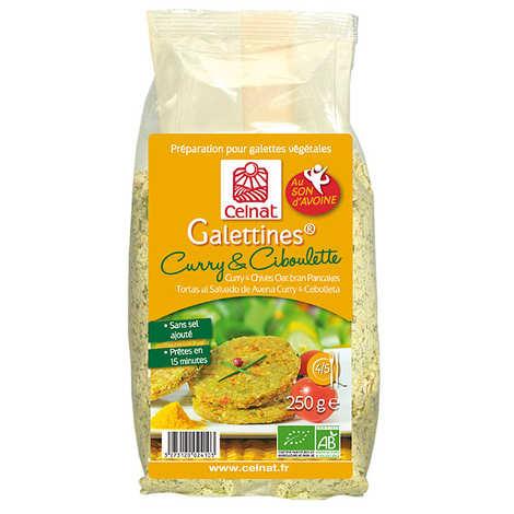 Celnat - Galettines son d'avoine curry et ciboulette bio