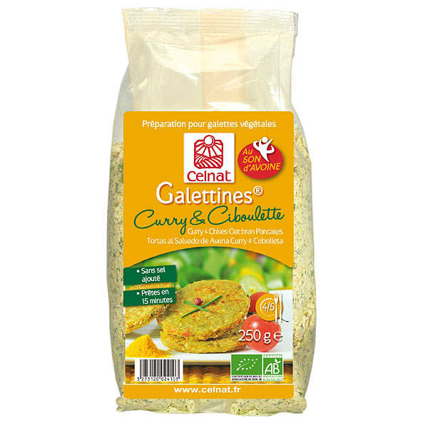 Galettines son d'avoine curry et ciboulette bio
