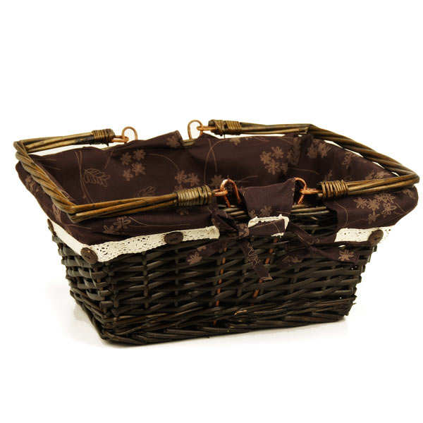 Canvas-lined natural wicker basket with 2 handles