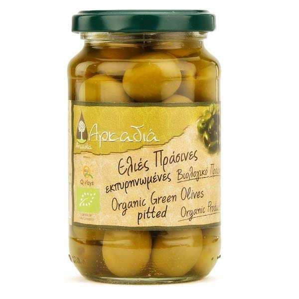 Olives vertes Chalkidiki dénoyautées grecques (saumure) bio