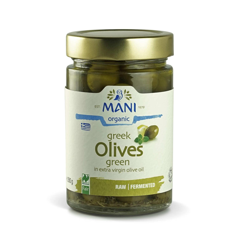 Organic Greek Green Amfissa Pickled Olive - lemon and herbs