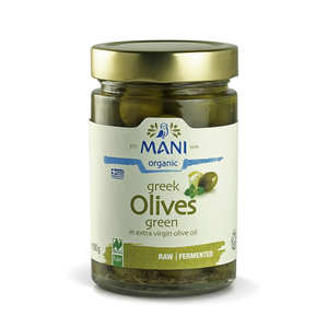 Mani Blauel - Organic Greek Green Amfissa Pickled Olive - lemon and herbs
