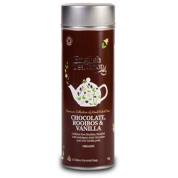 Thé rooïbos chocolat, vanille bio - Boite métal sachets pyramides