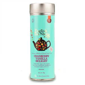 English Tea Shop - Infusion cranberry vanille bio - Boite métal sachets pyramides