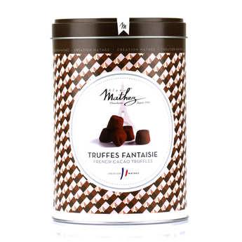 Chocolat Mathez - Truffes fantaisie éclats de fève de cacao en boite fer vintage