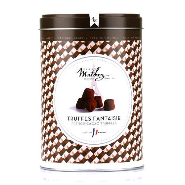 Truffes fantaisie éclats de fève de cacao en boite fer vintage