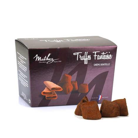 Chocolat Mathez - Truffes fantaisie crêpe dentelle en mini ballotin