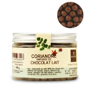 Bovetti chocolats - Chocolats apéritifs à la coriandre enrobés de chocolat au lait