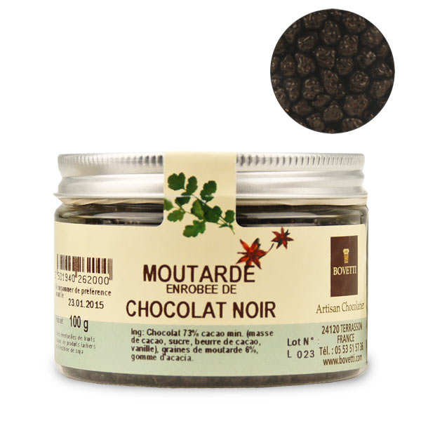 Chocolats apéritifs à la moutarde enrobé de chocolat noir