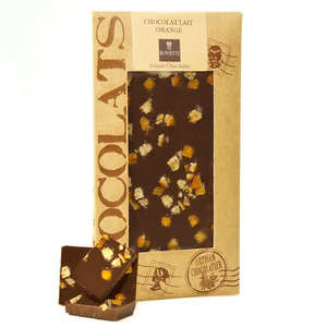 Bovetti chocolats - Milk chocolate with orange peel - chocolate bar